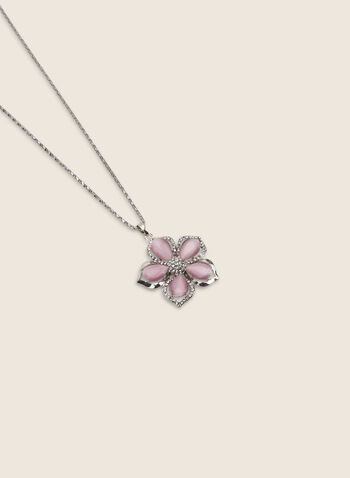 Long Flower Pendant Necklace, Pink,  necklace, long, flower, crystal, pendant, crystals, spring summer 2020