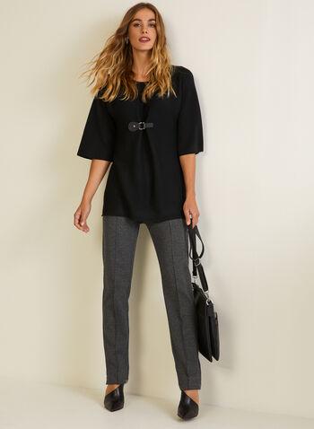 Dolman Sleeve Buckle Detail Sweater, Black,  fall winter 2020, top, sweater, buckle detail, fall winter 2020