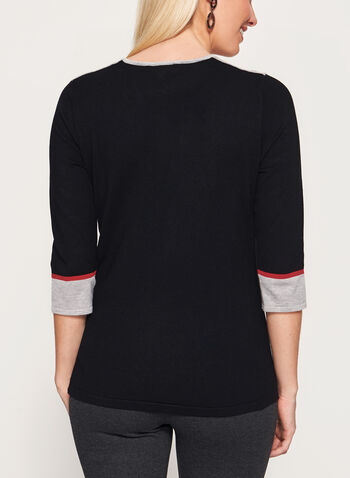 3/4 Sleeve Scoop Neck Sweater, , hi-res