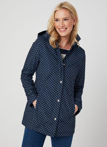 Weatherproof - Polka Dot Print Raincoat, Blue, hi-res,  removable hood, long sleeves, spring 2019