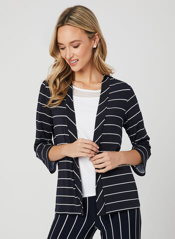 Stripe Print Open Front Top, Blue, hi-res