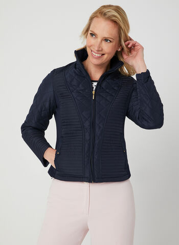 Weatherproof - Quilted Coat, Blue, hi-res