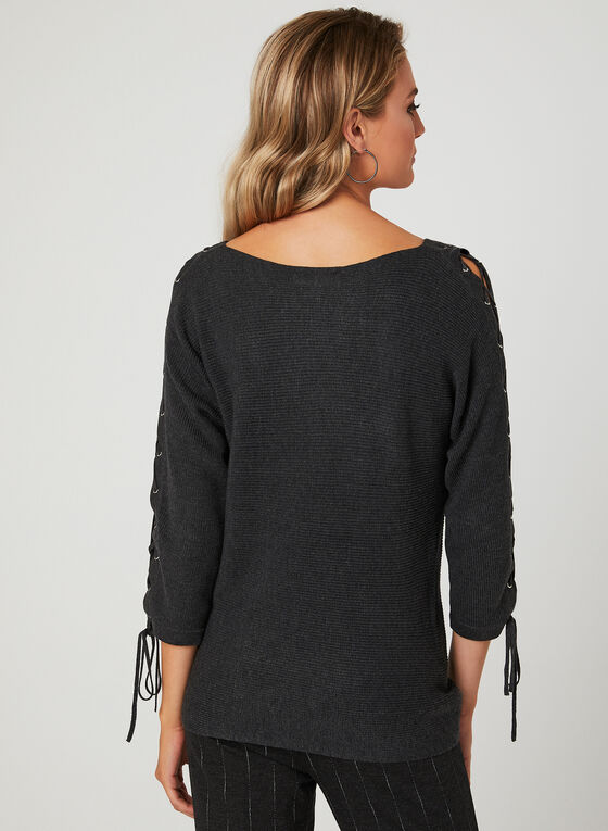 Lace Up Dolman Sleeve Sweater, Grey, hi-res