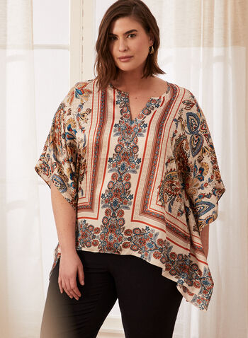 Paisley Print Poncho Blouse, White,  spring summer 2021, paisley print, v neck, round border, poncho, blouse, high low, assymetric, tunic, blouse, top, short sleeve, comfort, light
