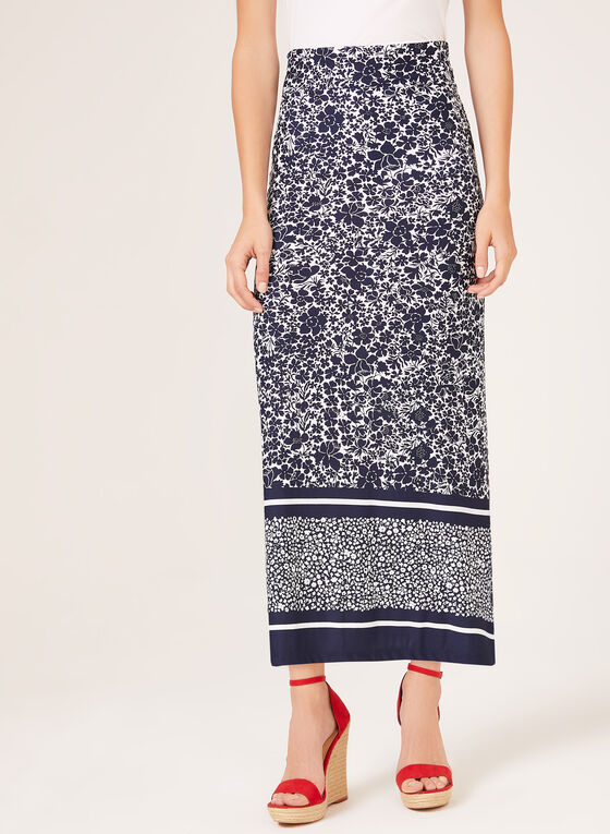 18dbe3f47 ... Floral Print Pull-On Maxi Skirt, Blue, hi-res ...