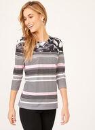 Floral & Stripe Print Top, Black, hi-res