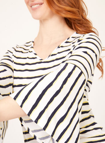 Bleeding Stripe Popover Top, White, hi-res