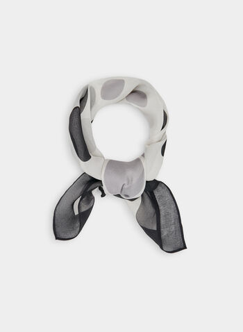 Dot Print Silk Scarf, Black, hi-res