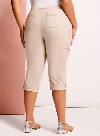 Pantalon capri cargo coupe moderne, Gris, hi-res