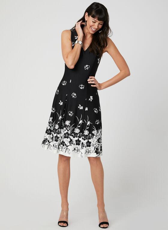 Robe à imprimé floral contrastant, Noir, hi-res