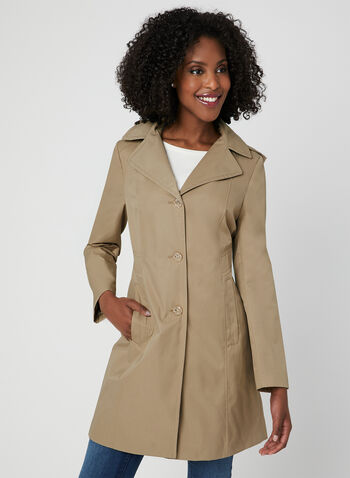 Anne Klein - Notch Collar Coat, Brown, hi-res