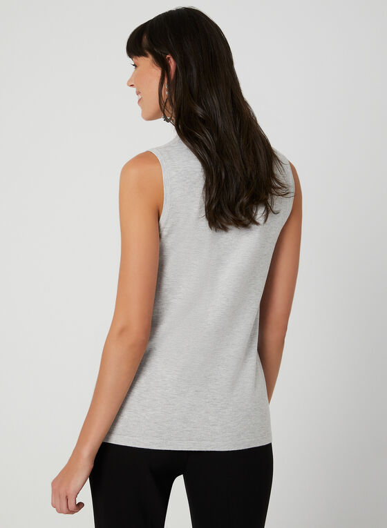 Sleeveless Knit Turtleneck, Grey