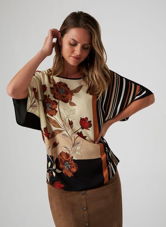 Floral & Stripe Print Crepe Blouse, Black, hi-res