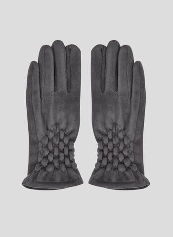 Smocking Detail Faux-Suede Gloves, Grey, hi-res