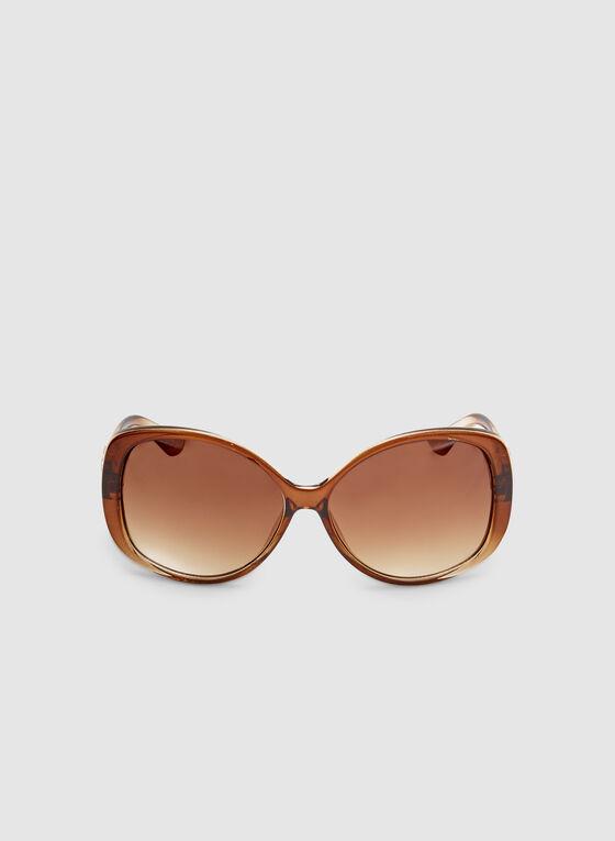 Ombré Plastic Sunglasses , Brown