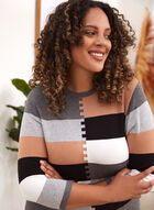 Colour Block Knit Sweater, Grey