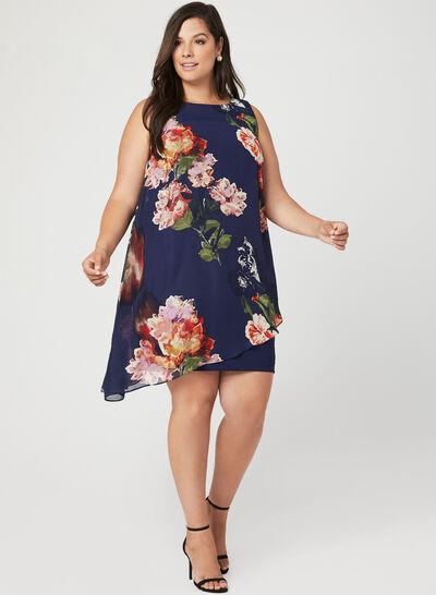 Floral Print Back Capelet Dress