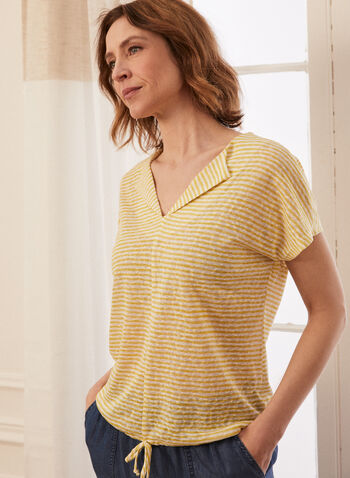 Striped Collared V Neck Top, Yellow,  reverse collar, spring summer 2021, made in Canada, top, blouse, lapel collar, V neck, stripe print, striped, collared, tie detail, jersey, drop shoulder, short sleeve, comfort