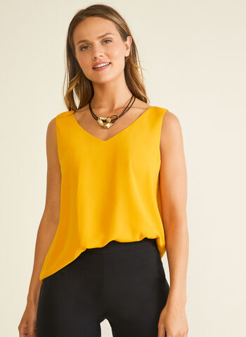 Sleeveless V-Neck Blouse, Yellow,  top, blouse, sleeveless, v-neck, lined, crisscross, spring summer 2020