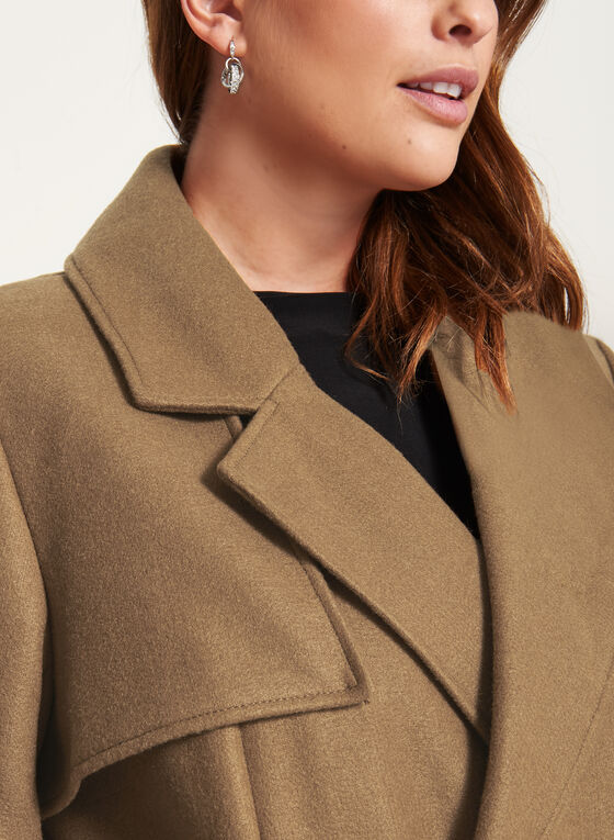 Novelti - Wool-Like Double Breasted Coat, Brown, hi-res