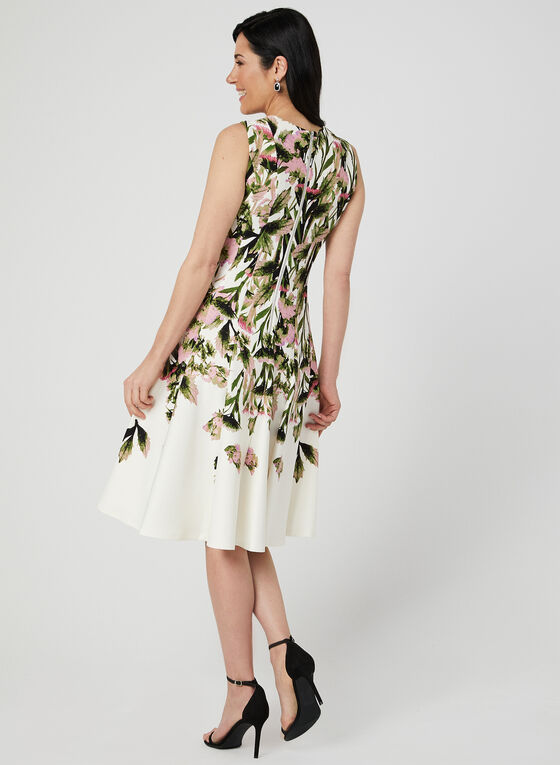 Floral Print Fit & Flare Dress, Green, hi-res