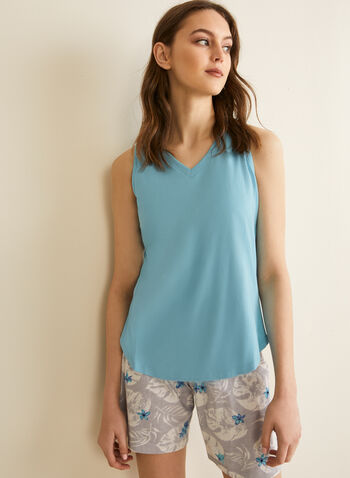 Claudel Lingerie - Pyjama sans manches, Bleu,  printemps été 2020, pyjama, ensemble, Claudel Lingerie