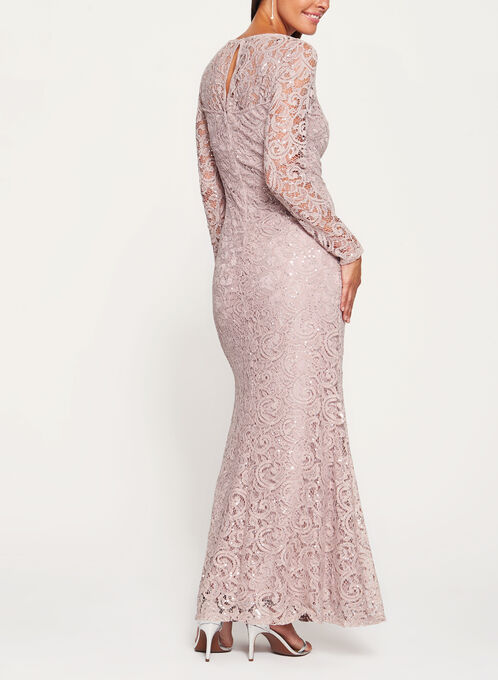 Long Sleeve Sequin Lace Dress, Brown, hi-res