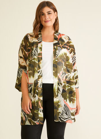 Tropical Print Open Front Tunic, Black,  tunic, blouse, open front, chiffon, tropical print, animal print, 3/4 sleeves, spring summer 2020