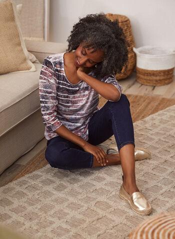 Burnout Print 3/4 Sleeve Tee, Red,  fall winter 2021, shirt, tee, top, blouse, abstract, stripe, print, pattern, burnout, motif, rhinestone, design, details, 3/4 sleeves, scoop neckline, light, comfortable