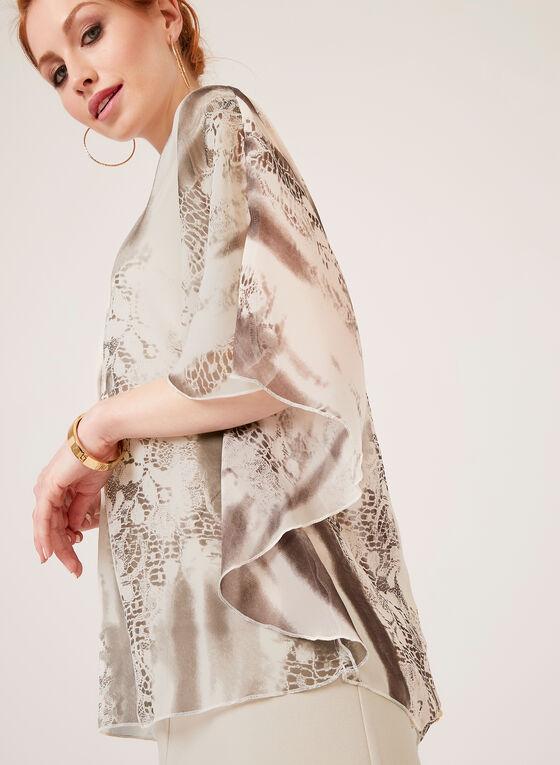 Blouse poncho au motif abstrait, Blanc, hi-res