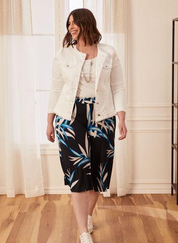 Palm Print Capri Pants, Blue,  spring summer 2021, pants, capri, capris, palm print, wide leg, pull on, made in Canada
