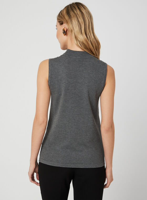 Sleeveless Mock Neck Top, Grey
