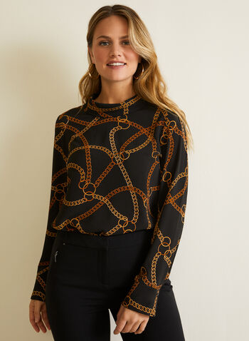 Long Sleeve Chain Print Blouse , Black,  Fall winter 2020, long sleeve, chain print, crepe fabric, reversed collar, keyhole opening