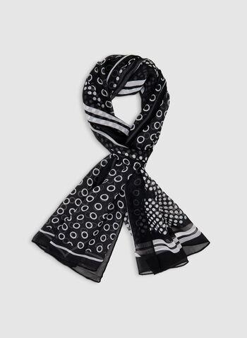 Foulard oblong à motif pois, Noir, hi-res,  foulard, oblong, pois, automne hiver 2019