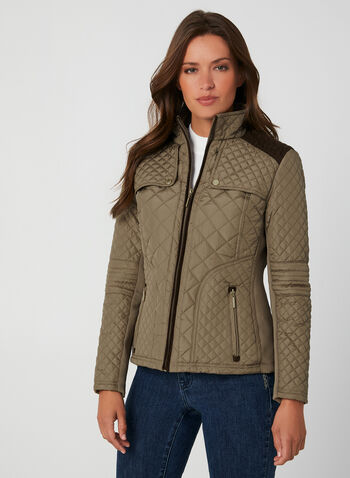 Weatherproof - Quilted Coat, Brown, hi-res,  coat, quilted, weatherproof, contrast, zipper, pockets, stand collar, long sleeves, fall 2019