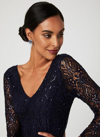 Sequin Lace Maxi Dress, Blue, hi-res