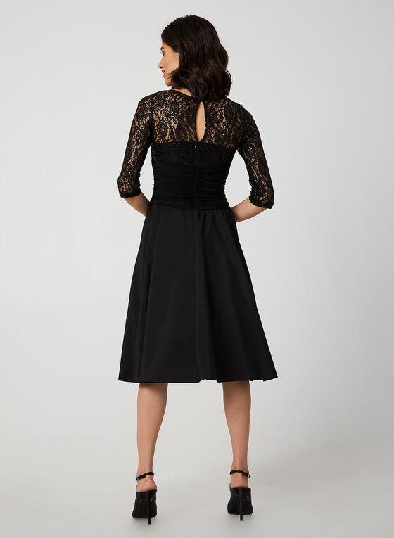 Robe à corsage dentelle et jupe taffetas, Noir