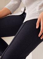 Pantalon coupe cité à jambe droite et motif œil de perdrix, Bleu, hi-res