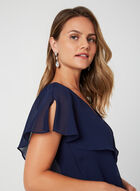 Tiered V-Neck Dress, Blue