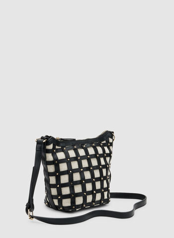 Plaid Print Bucket Bag, Black, hi-res