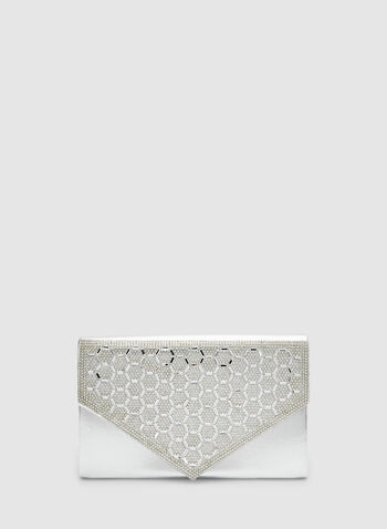 Metallic Envelope Clutch, Silver, hi-res,  crystals, evening, flapover, fall 2019, winter 2019