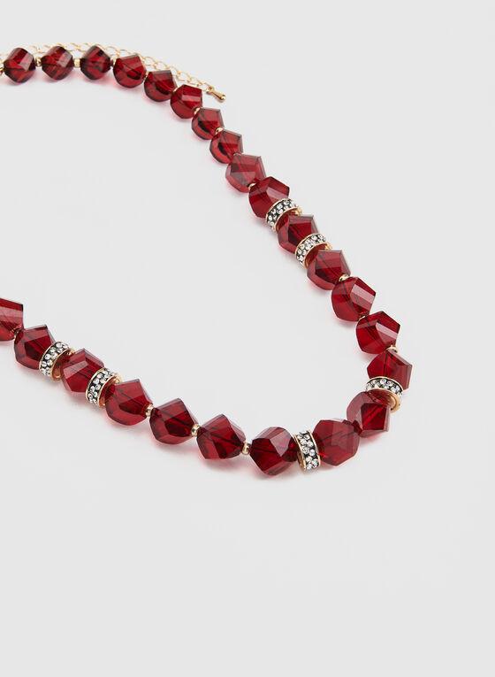 Collier à billes facettées et cristaux, Rouge