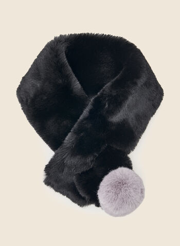 Pompom Detail Faux Fur Scarf, Black,  scarf, winter, faux fur, pompom, fall winter 2020