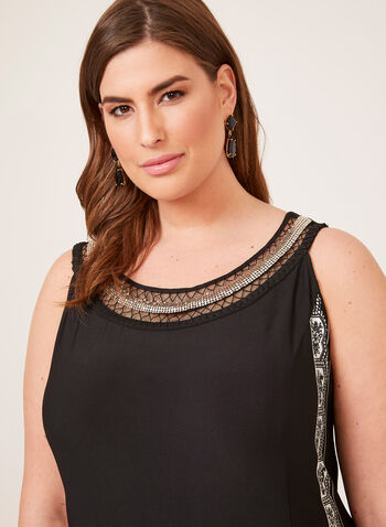 Embellished Cleo Neck Jersey Dress, Black, hi-res