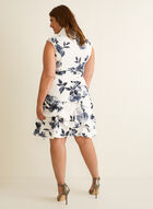 Joseph Ribkoff - Floral Print Cowl Neck Dress, White