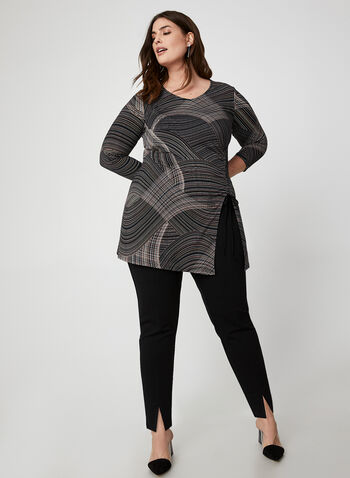 Geometric Print Tunic Top, Black,  Canada, tunic, top, 3/4 sleeves, side slit, geometric print, V-neck, fall 2019, winter 2019