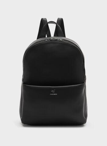 Faux Leather Backpack, Black, hi-res