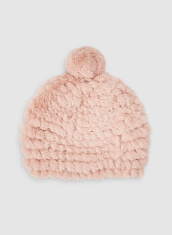 Fake Fur Hat, Pink,  hat, knit, fake fur, pompom, soft, fall 2019, winter 2019