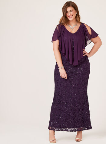Marina - Sequin Lace Poncho Dress, Purple, hi-res