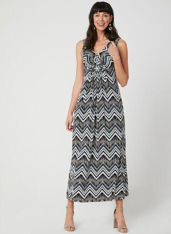 Zigzag Print Maxi Dress, Blue, hi-res